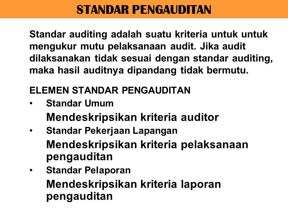 STANDAR PENGAUDITAN ELEMEN STANDAR PENGAUDITAN Standar Umum Mendeskripsikan kriteria auditor Standar Pekerjaan Lapangan Mendeskripsikan kriteria pelak