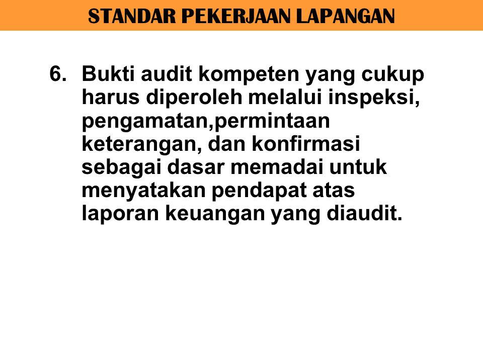 STANDAR PEKERJAAN LAPANGAN 6.Bukti audit kompeten yang cukup harus diperoleh melalui inspeksi, pengamatan,permintaan keterangan, dan konfirmasi sebaga
