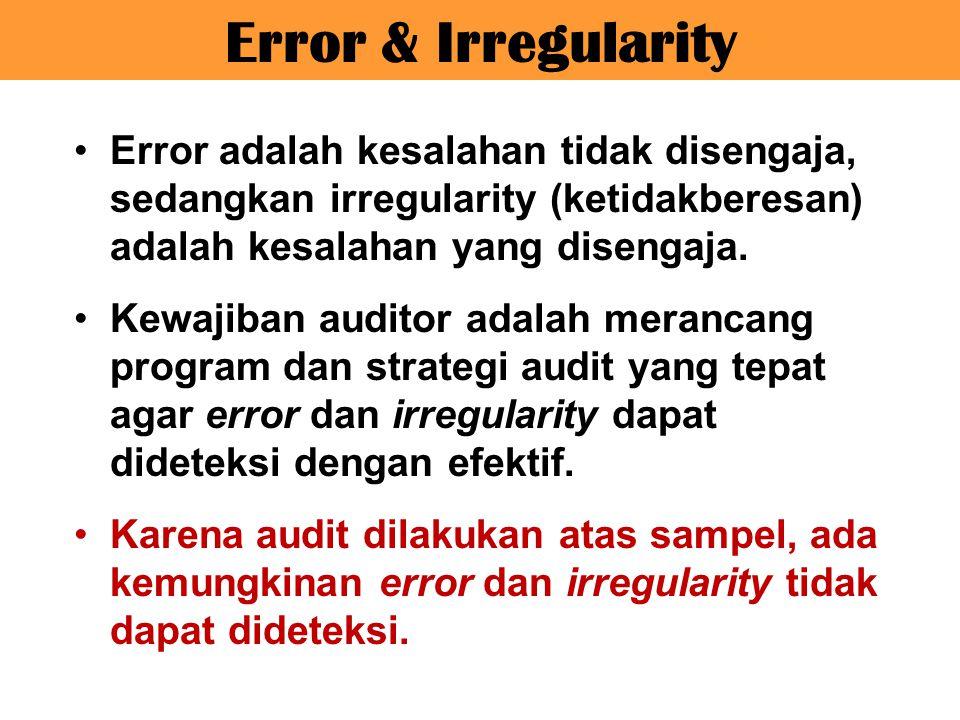 Error adalah kesalahan tidak disengaja, sedangkan irregularity (ketidakberesan) adalah kesalahan yang disengaja. Kewajiban auditor adalah merancang pr