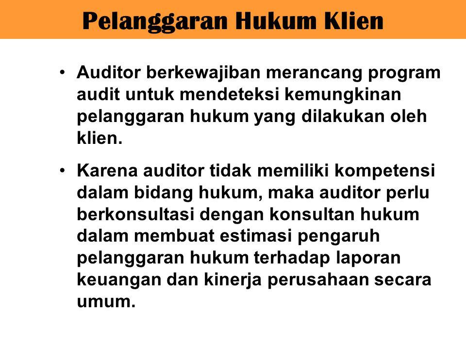 Auditor berkewajiban merancang program audit untuk mendeteksi kemungkinan pelanggaran hukum yang dilakukan oleh klien. Karena auditor tidak memiliki k
