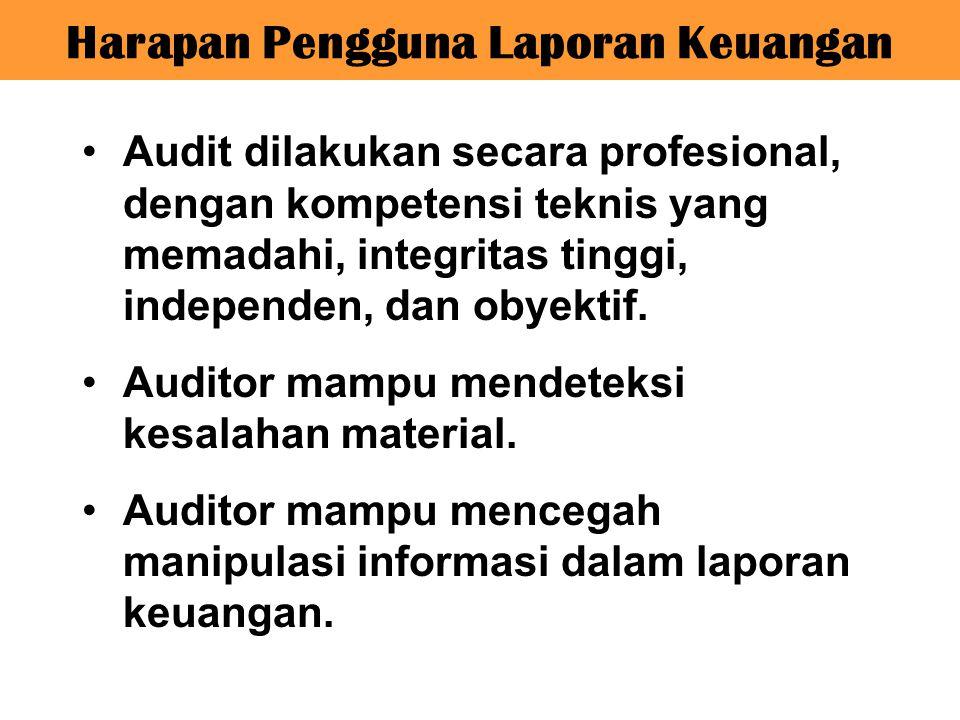 Audit dilakukan secara profesional, dengan kompetensi teknis yang memadahi, integritas tinggi, independen, dan obyektif. Auditor mampu mendeteksi kesa