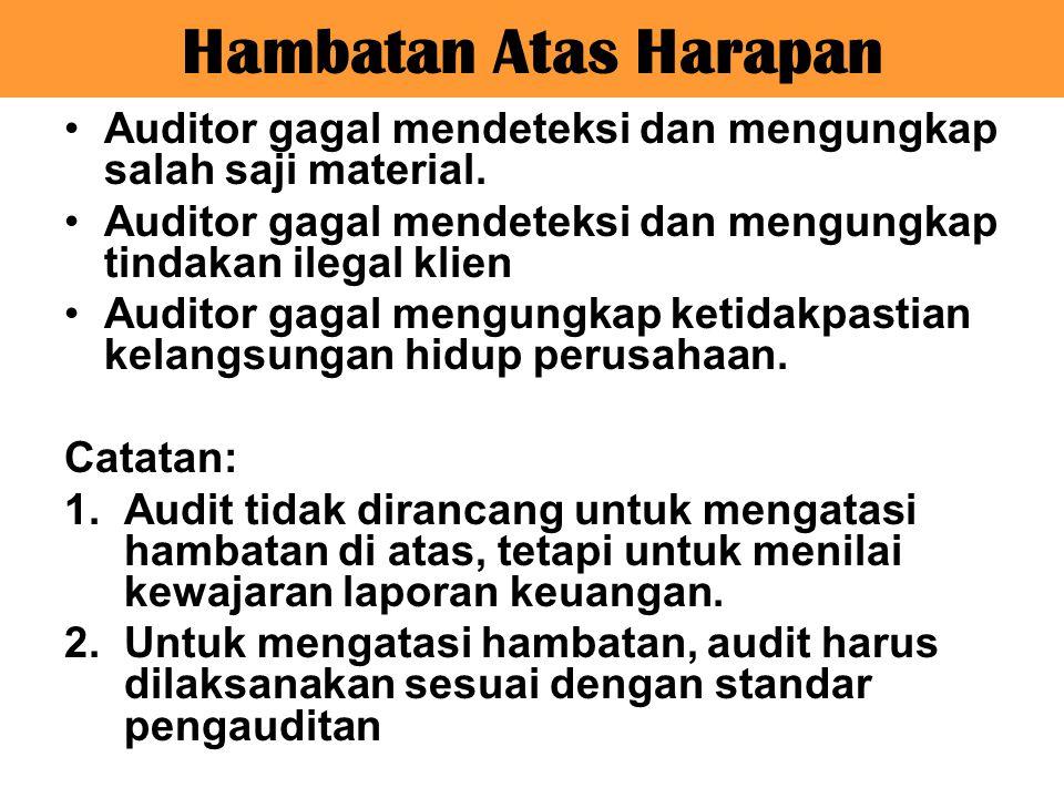 Hambatan Atas Harapan Auditor gagal mendeteksi dan mengungkap salah saji material. Auditor gagal mendeteksi dan mengungkap tindakan ilegal klien Audit