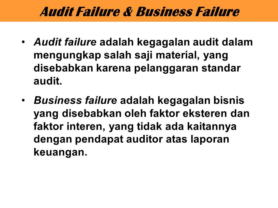 Audit failure adalah kegagalan audit dalam mengungkap salah saji material, yang disebabkan karena pelanggaran standar audit. Business failure adalah k