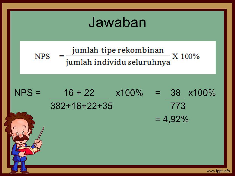 Jawaban NPS = 16 + 22 x100% = 38 x100% 382+16+22+35 773 = 4,92%