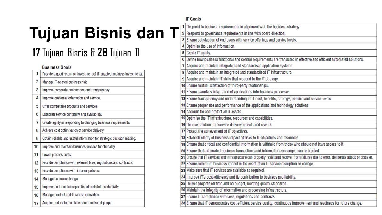 Tujuan Bisnis dan TI 17 Tujuan Bisnis & 28 Tujuan TI