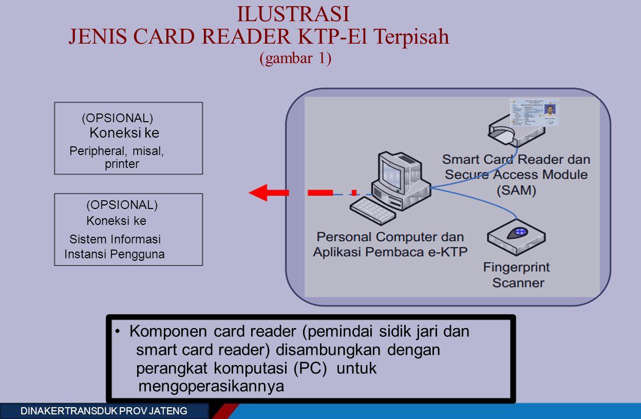 ILUSTRASI JENIS CARD READER KTP-El Terpisah (gambar 1) (OPSIONAL) Koneksi ke Peripheral, misal, Smart Card Reader dan printer Secure Access Module (SA