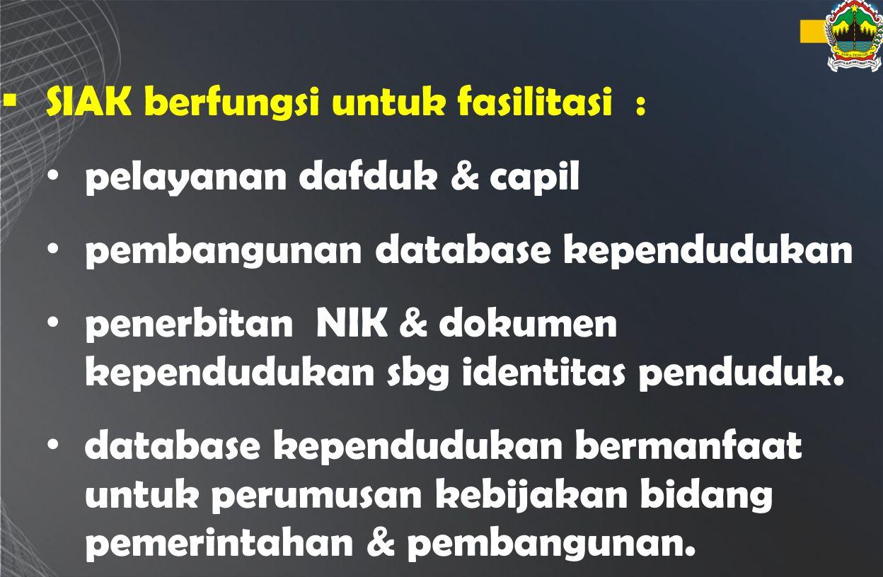  SIAK berfungsi untuk fasilitasi : pelayanan dafduk & capil pembangunan database kependudukan penerbitan NIK & dokumen kependudukan sbg identitas pen
