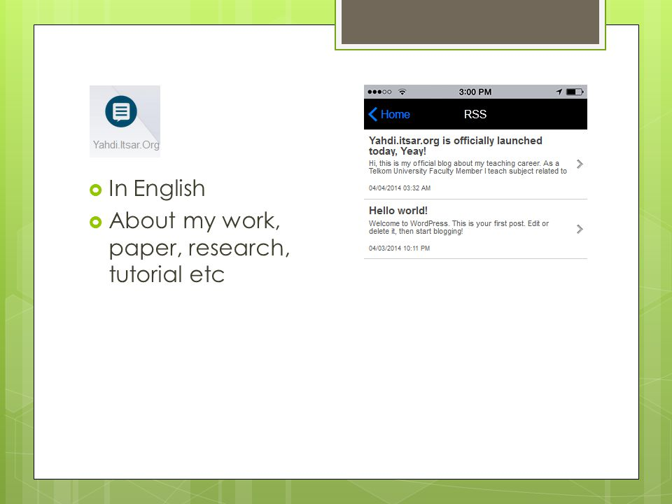  In English  About my work, paper, research, tutorial etc