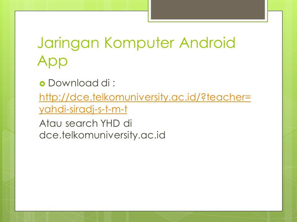 Jaringan Komputer Android App  Download di : http://dce.telkomuniversity.ac.id/ teacher= yahdi-siradj-s-t-m-t Atau search YHD di dce.telkomuniversity.ac.id