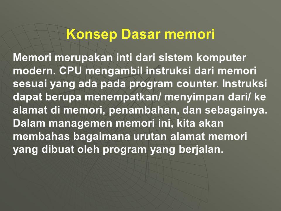 Konsep binding/ikatan Secara klasik, instruksi pengikatan dan data ke alamat memori dapat dilakukan dalam beberapa tahap: 1.waktu compile: jika diketahui pada waktu compile, dimana proses ditempatkan di memori.