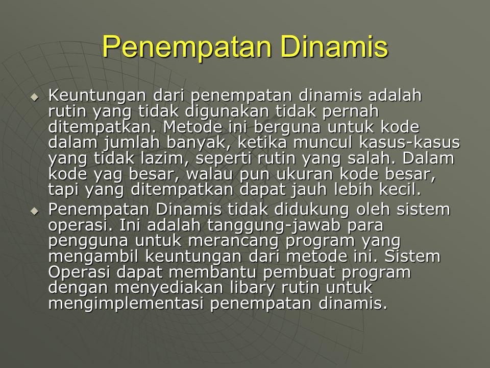 Penempatan Dinamis  Keuntungan dari penempatan dinamis adalah rutin yang tidak digunakan tidak pernah ditempatkan. Metode ini berguna untuk kode dala