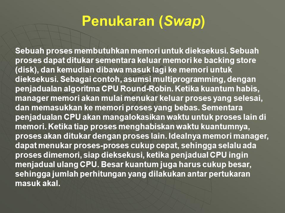 Penukaran (Swap) Sebuah proses membutuhkan memori untuk dieksekusi. Sebuah proses dapat ditukar sementara keluar memori ke backing store (disk), dan k