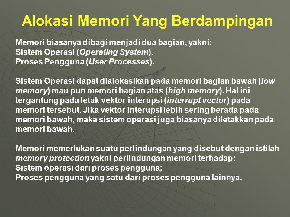 Alokasi Memori Yang Berdampingan Memori biasanya dibagi menjadi dua bagian, yakni: Sistem Operasi (Operating System). Proses Pengguna (User Processes)