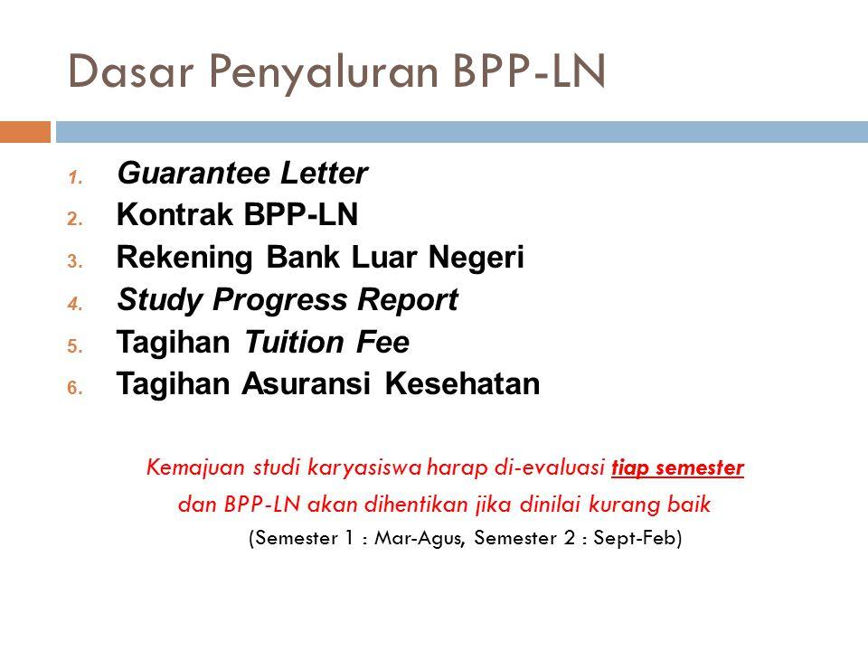 Dasar Penyaluran BPP-LN 1. Guarantee Letter 2. Kontrak BPP-LN 3. Rekening Bank Luar Negeri 4. Study Progress Report 5. Tagihan Tuition Fee 6. Tagihan