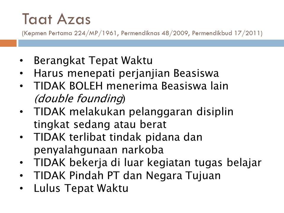 Taat Azas (Kepmen Pertama 224/MP/1961, Permendiknas 48/2009, Permendikbud 17/2011) Berangkat Tepat Waktu Harus menepati perjanjian Beasiswa TIDAK BOLE