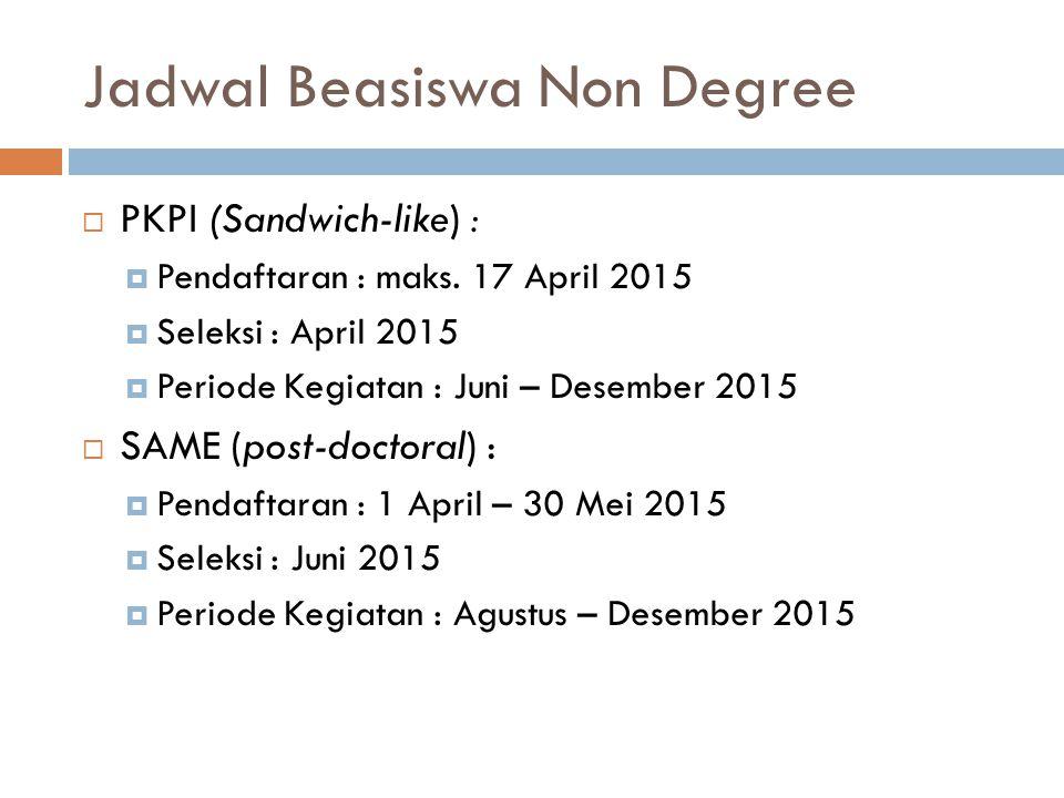 Jadwal Beasiswa Non Degree  PKPI (Sandwich-like) :  Pendaftaran : maks. 17 April 2015  Seleksi : April 2015  Periode Kegiatan : Juni – Desember 20