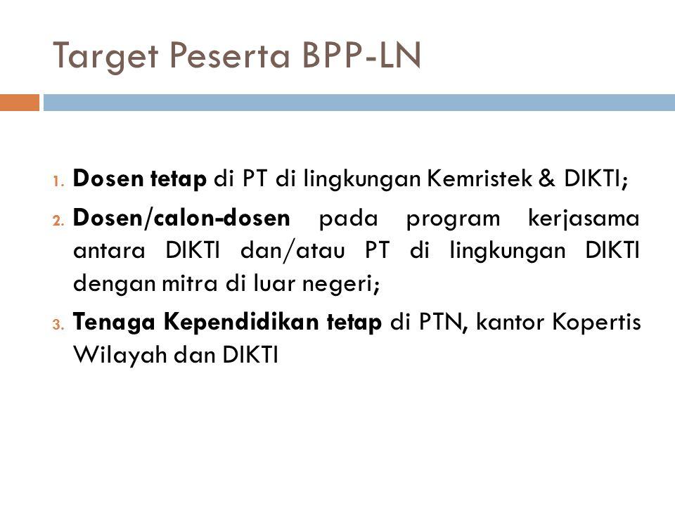 Target Peserta BPP-LN 1. Dosen tetap di PT di lingkungan Kemristek & DIKTI; 2. Dosen/calon-dosen pada program kerjasama antara DIKTI dan/atau PT di li