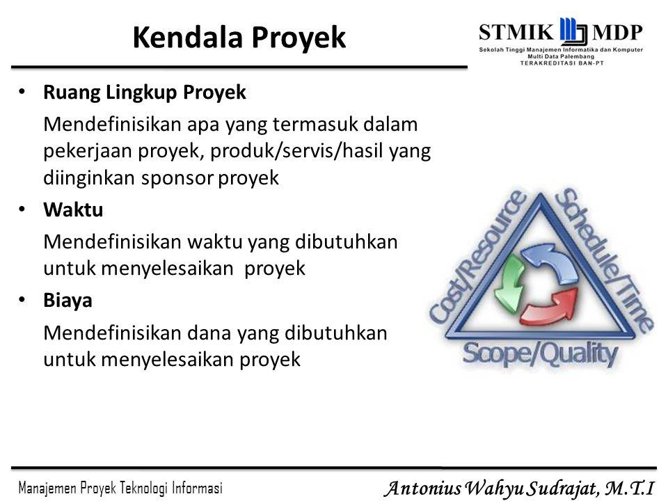 Manajemen Proyek Teknologi Informasi Antonius Wahyu Sudrajat, M.T.I Kendala Proyek Ruang Lingkup Proyek Mendefinisikan apa yang termasuk dalam pekerja