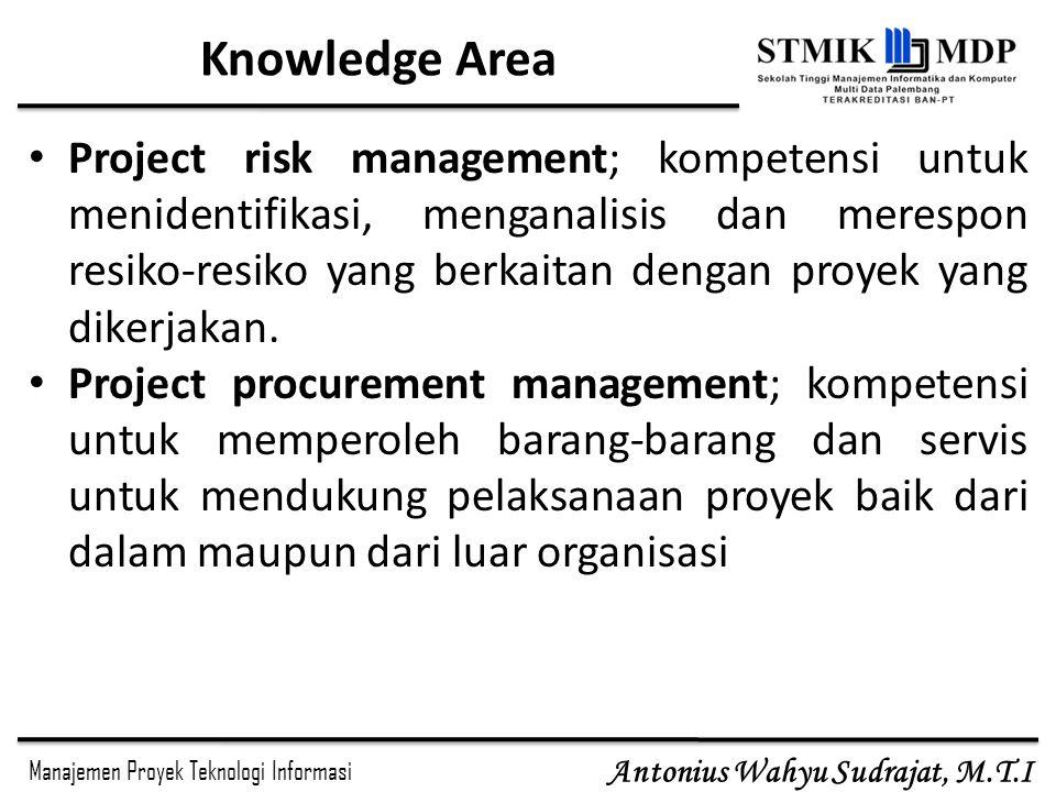 Manajemen Proyek Teknologi Informasi Antonius Wahyu Sudrajat, M.T.I Knowledge Area Project risk management; kompetensi untuk menidentifikasi, menganal