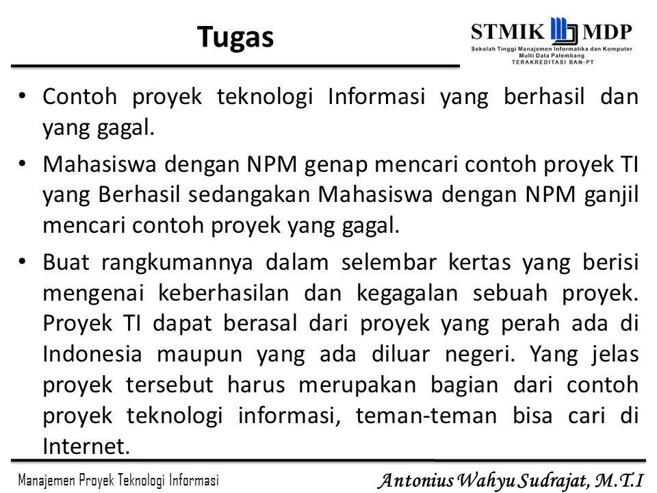 Manajemen Proyek Teknologi Informasi Antonius Wahyu Sudrajat, M.T.I KONSEP MANAJEMEN PROYEK Project Manager Manajemen proyek SI ditekankan pada 3 faktor, yaitu Manusia, Masalah, Proses.
