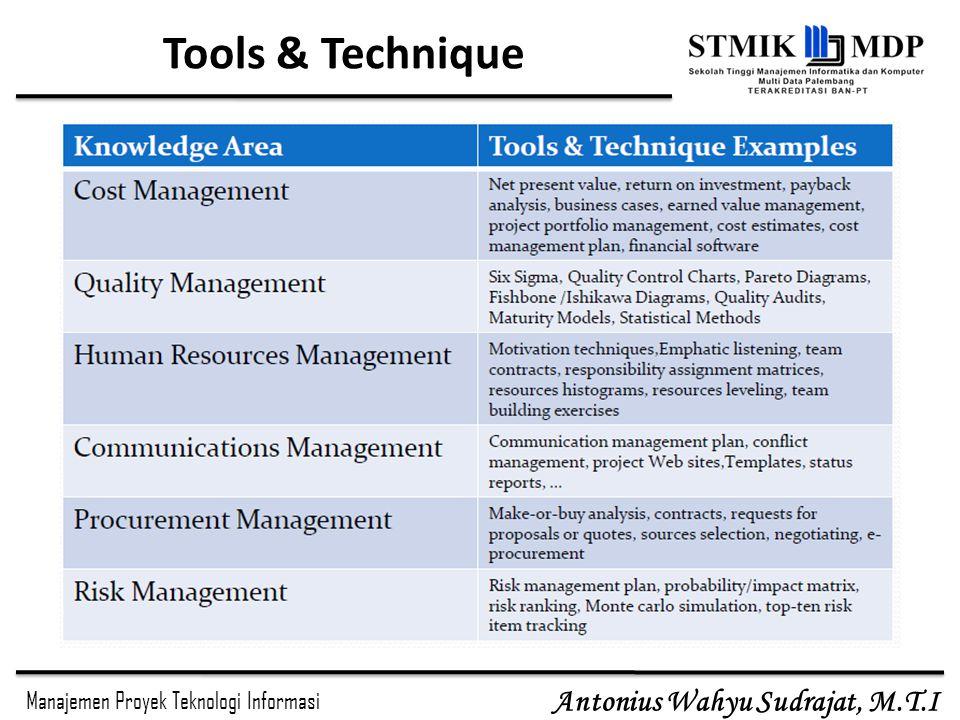 Manajemen Proyek Teknologi Informasi Antonius Wahyu Sudrajat, M.T.I Tools & Technique