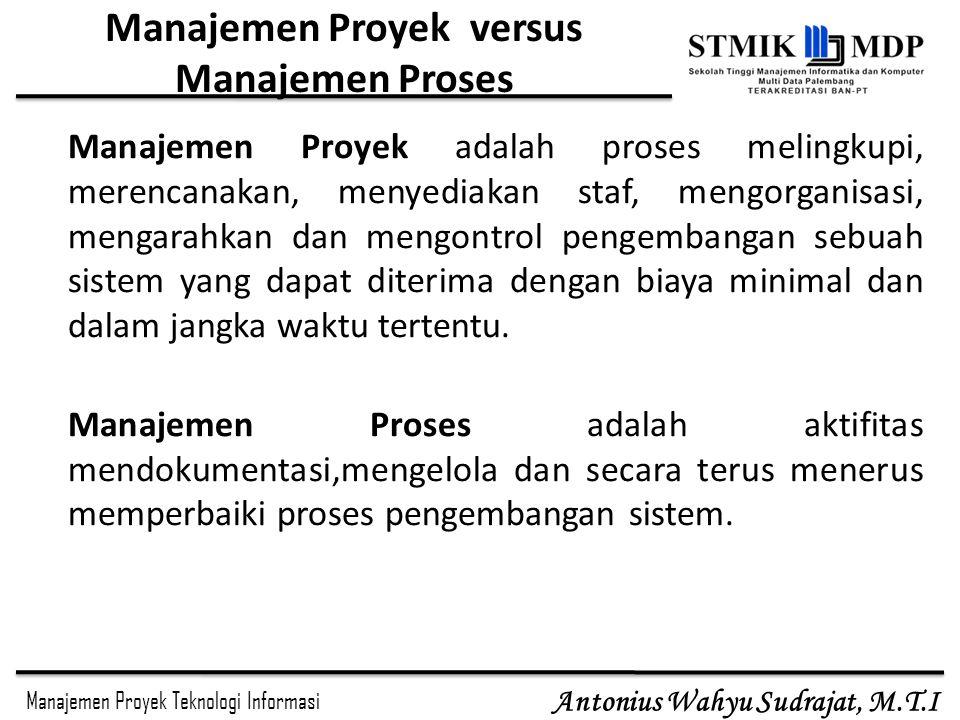 Manajemen Proyek Teknologi Informasi Antonius Wahyu Sudrajat, M.T.I Manajemen Proyek versus Manajemen Proses Manajemen Proyek adalah proses melingkupi