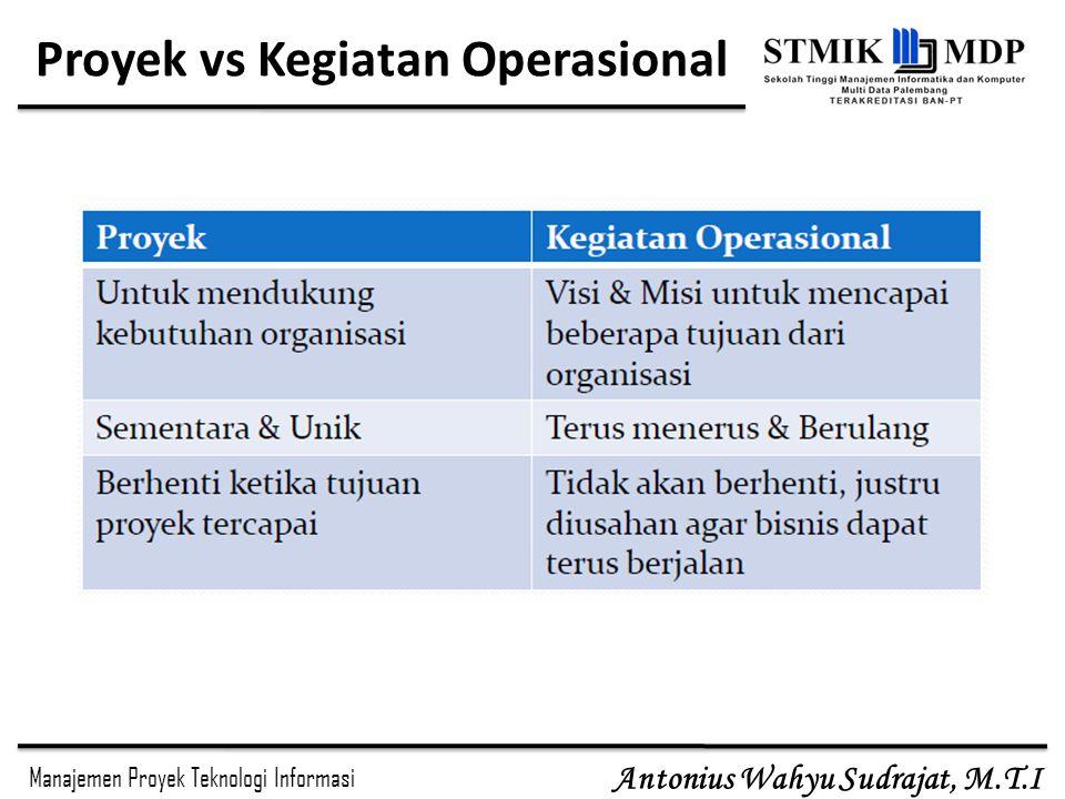 Manajemen Proyek Teknologi Informasi Antonius Wahyu Sudrajat, M.T.I Stakeholder Proyek Stakeholder adalah orang-orang yang terlibat atau dipengaruhi aktivitas-aktivitas proyek.