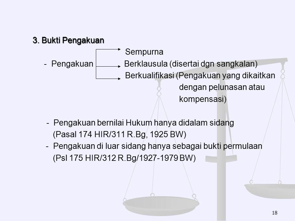 3. Bukti Pengakuan Sempurna - Pengakuan Berklausula (disertai dgn sangkalan) Berkualifikasi (Pengakuan yang dikaitkan dengan pelunasan atau kompensasi