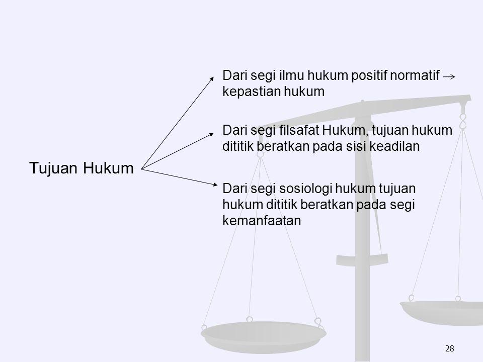 Dari segi ilmu hukum positif normatif kepastian hukum Dari segi filsafat Hukum, tujuan hukum dititik beratkan pada sisi keadilan Tujuan Hukum Dari seg