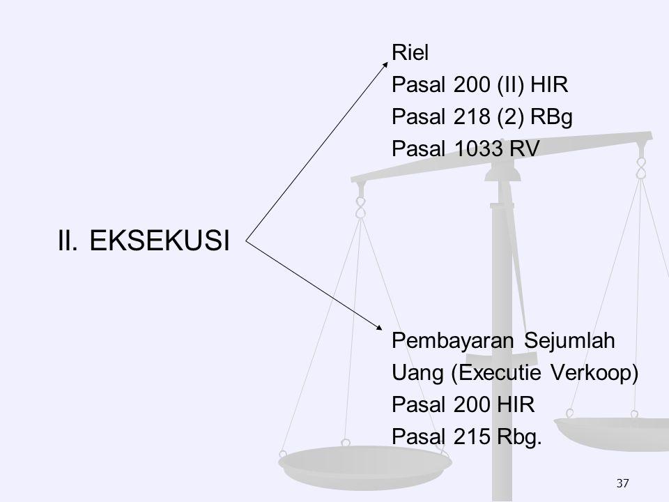 Riel Pasal 200 (II) HIR Pasal 218 (2) RBg Pasal 1033 RV II. EKSEKUSI Pembayaran Sejumlah Uang (Executie Verkoop) Pasal 200 HIR Pasal 215 Rbg. 37