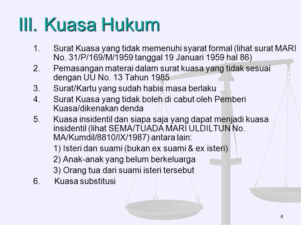 III. Kuasa Hukum 1. 1.Surat Kuasa yang tidak memenuhi syarat formal (lihat surat MARI No. 31/P/169/M/1959 tanggal 19 Januari 1959 hal 86) 2. 2.Pemasan