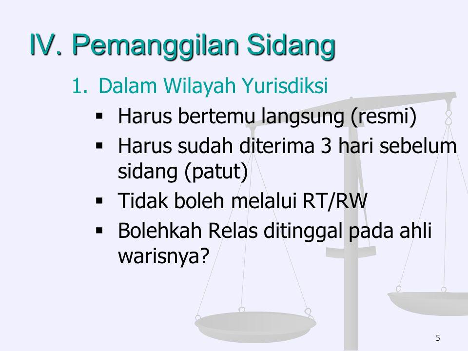 IV. Pemanggilan Sidang 1. 1.Dalam Wilayah Yurisdiksi   Harus bertemu langsung (resmi)   Harus sudah diterima 3 hari sebelum sidang (patut)   Tid