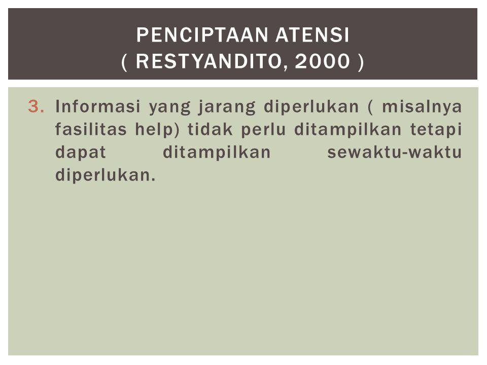 3.Informasi yang jarang diperlukan ( misalnya fasilitas help) tidak perlu ditampilkan tetapi dapat ditampilkan sewaktu-waktu diperlukan. PENCIPTAAN AT