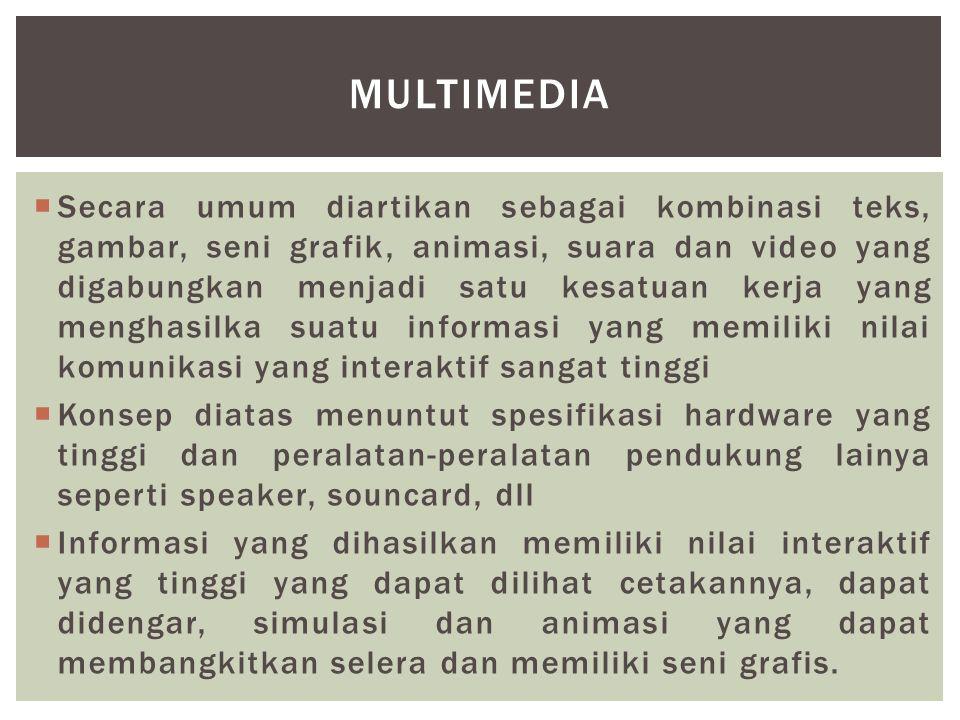  Secara umum diartikan sebagai kombinasi teks, gambar, seni grafik, animasi, suara dan video yang digabungkan menjadi satu kesatuan kerja yang mengha