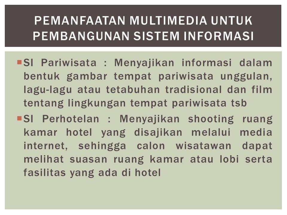  SI Pariwisata : Menyajikan informasi dalam bentuk gambar tempat pariwisata unggulan, lagu-lagu atau tetabuhan tradisional dan film tentang lingkunga