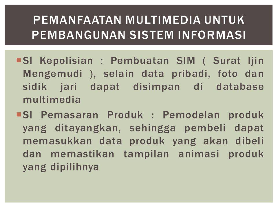  SI Kepolisian : Pembuatan SIM ( Surat Ijin Mengemudi ), selain data pribadi, foto dan sidik jari dapat disimpan di database multimedia  SI Pemasara