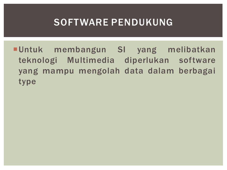 Untuk membangun SI yang melibatkan teknologi Multimedia diperlukan software yang mampu mengolah data dalam berbagai type SOFTWARE PENDUKUNG
