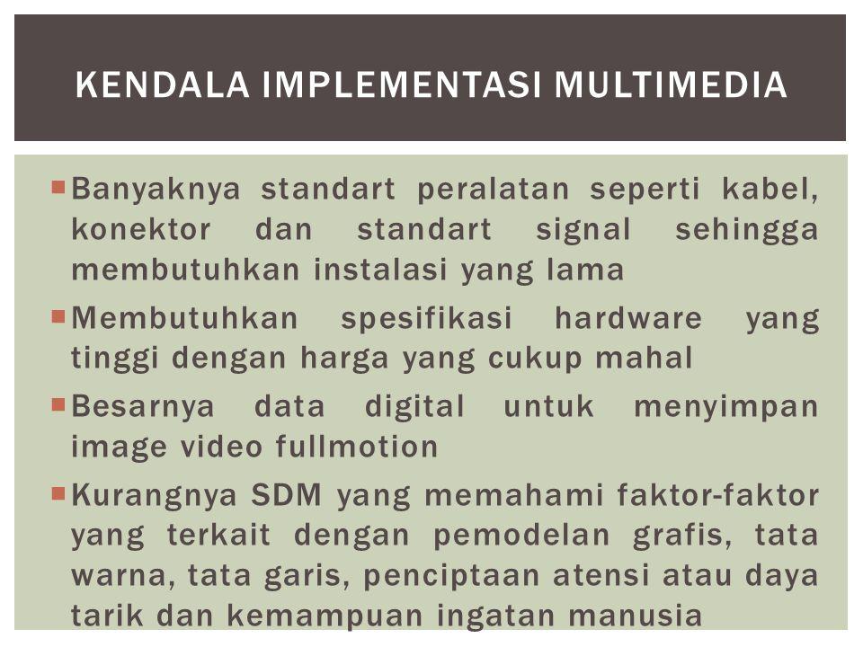  Banyaknya standart peralatan seperti kabel, konektor dan standart signal sehingga membutuhkan instalasi yang lama  Membutuhkan spesifikasi hardware