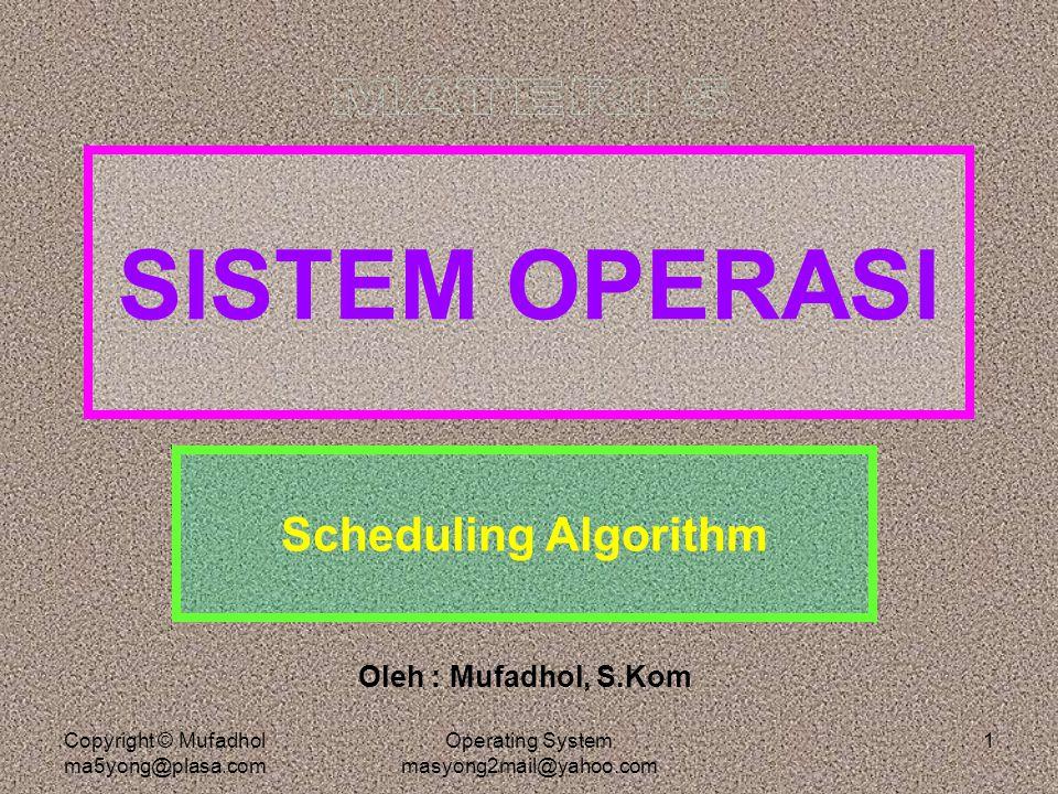 Copyright © Mufadhol ma5yong@plasa.com Operating System masyong2mail@yahoo.com 2 Algoritma Penjadualan Penjadualan pada prosesor jamak jelas lebih kompleks, karena kemungkinan masalah yang timbul jauh lebih banyak daripada prosesor tunggal.