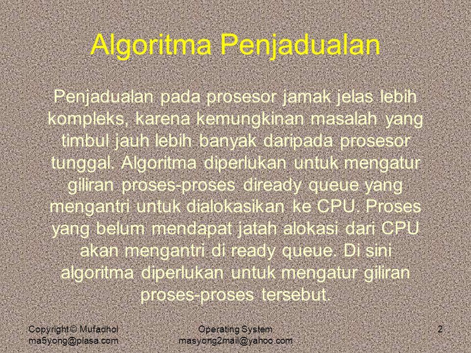 Copyright © Mufadhol ma5yong@plasa.com Operating System masyong2mail@yahoo.com 2 Algoritma Penjadualan Penjadualan pada prosesor jamak jelas lebih kom