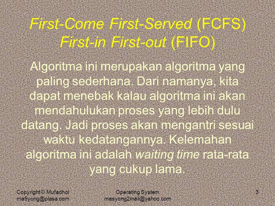 Copyright © Mufadhol ma5yong@plasa.com Operating System masyong2mail@yahoo.com 4 Shortest-Job First (SJF) Non-Preemtive Algoritma ini mempunyai cara yang berbeda untuk mengatur antrian di ready queue.