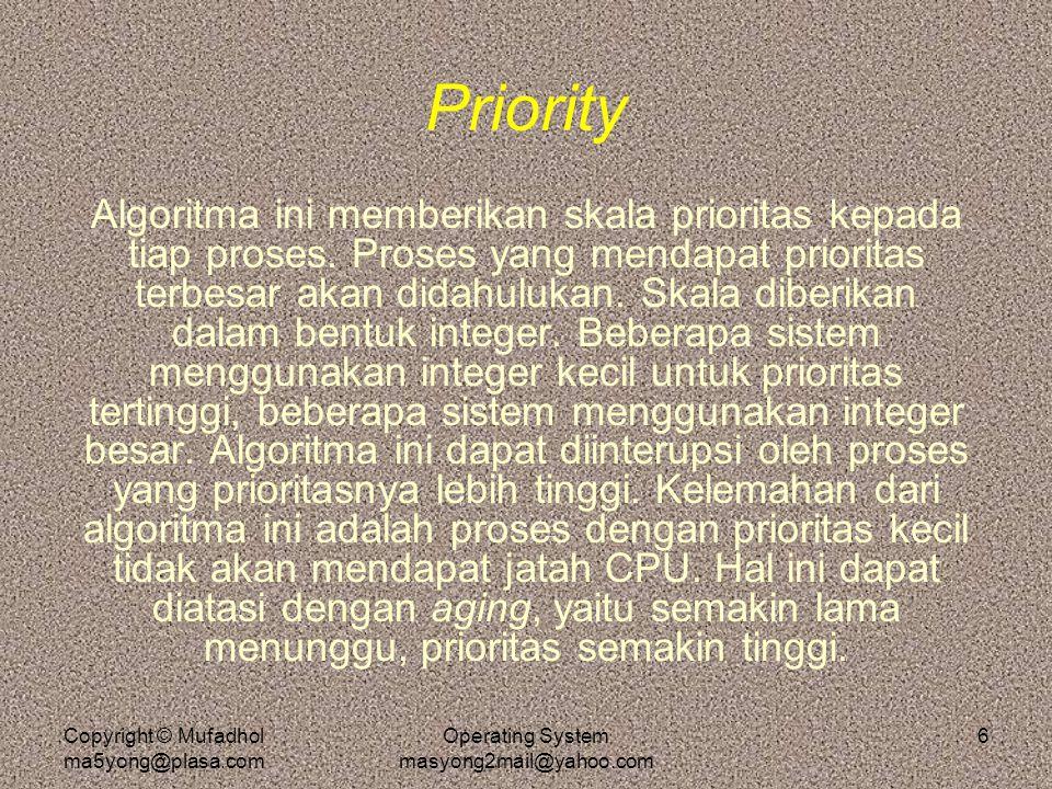 Copyright © Mufadhol ma5yong@plasa.com Operating System masyong2mail@yahoo.com 6 Priority Algoritma ini memberikan skala prioritas kepada tiap proses.