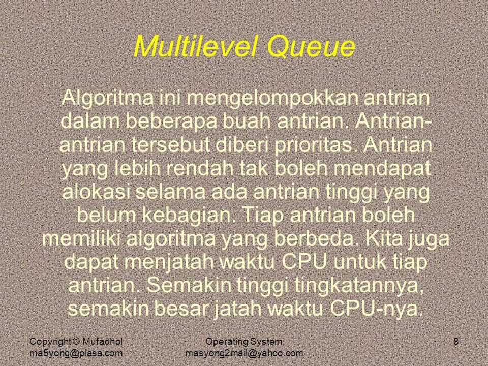 Copyright © Mufadhol ma5yong@plasa.com Operating System masyong2mail@yahoo.com 8 Multilevel Queue Algoritma ini mengelompokkan antrian dalam beberapa