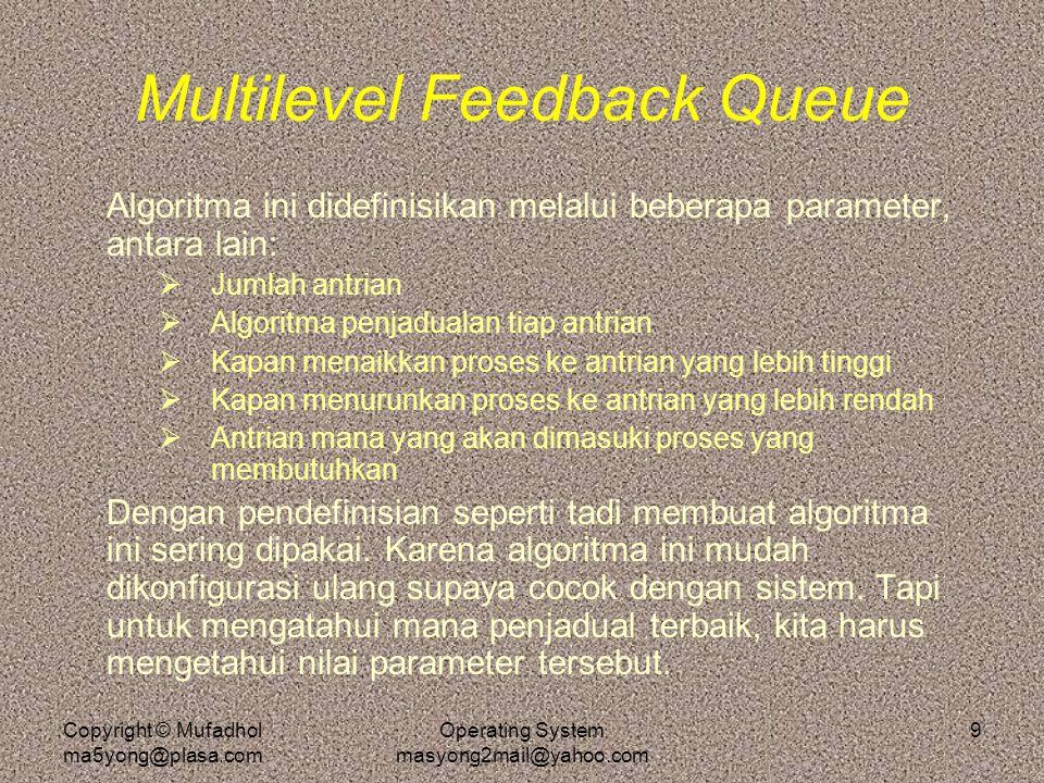 Copyright © Mufadhol ma5yong@plasa.com Operating System masyong2mail@yahoo.com 9 Multilevel Feedback Queue Algoritma ini didefinisikan melalui beberap
