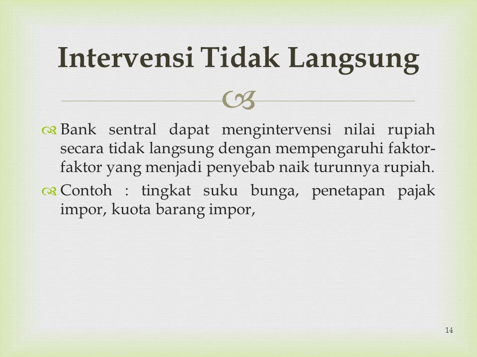   Bank sentral dapat mengintervensi nilai rupiah secara tidak langsung dengan mempengaruhi faktor- faktor yang menjadi penyebab naik turunnya rupiah