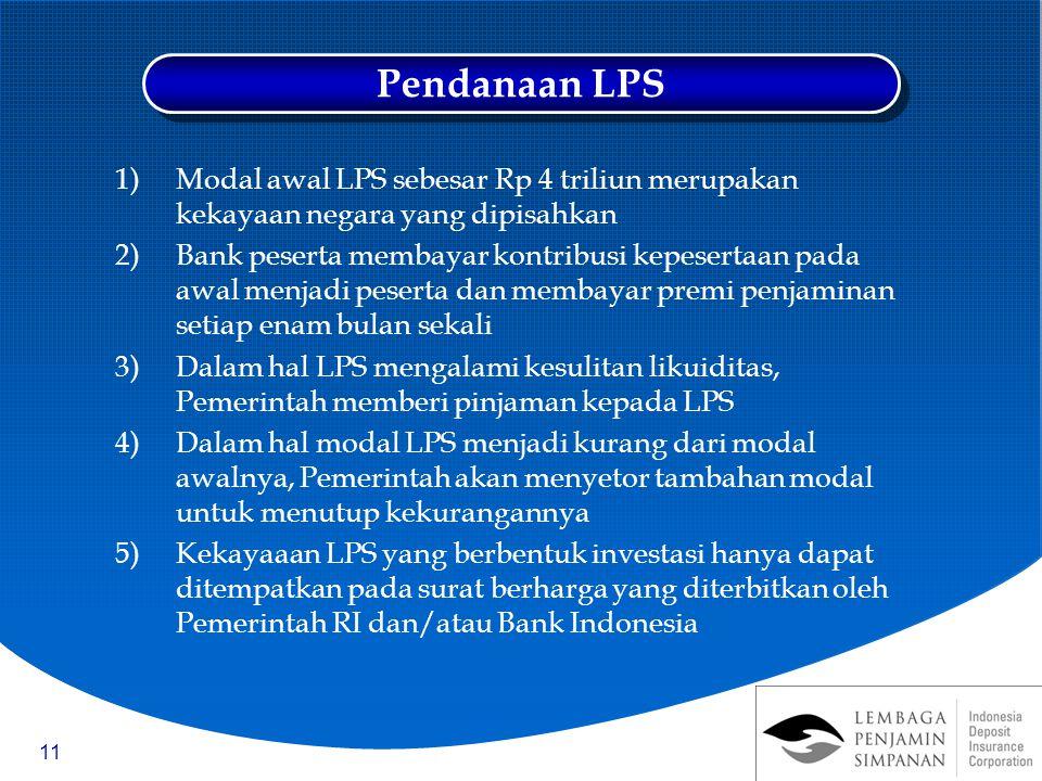 11 1)Modal awal LPS sebesar Rp 4 triliun merupakan kekayaan negara yang dipisahkan 2)Bank peserta membayar kontribusi kepesertaan pada awal menjadi pe