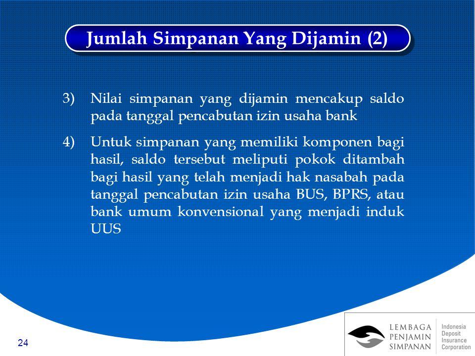 24 3)Nilai simpanan yang dijamin mencakup saldo pada tanggal pencabutan izin usaha bank 4)Untuk simpanan yang memiliki komponen bagi hasil, saldo ters