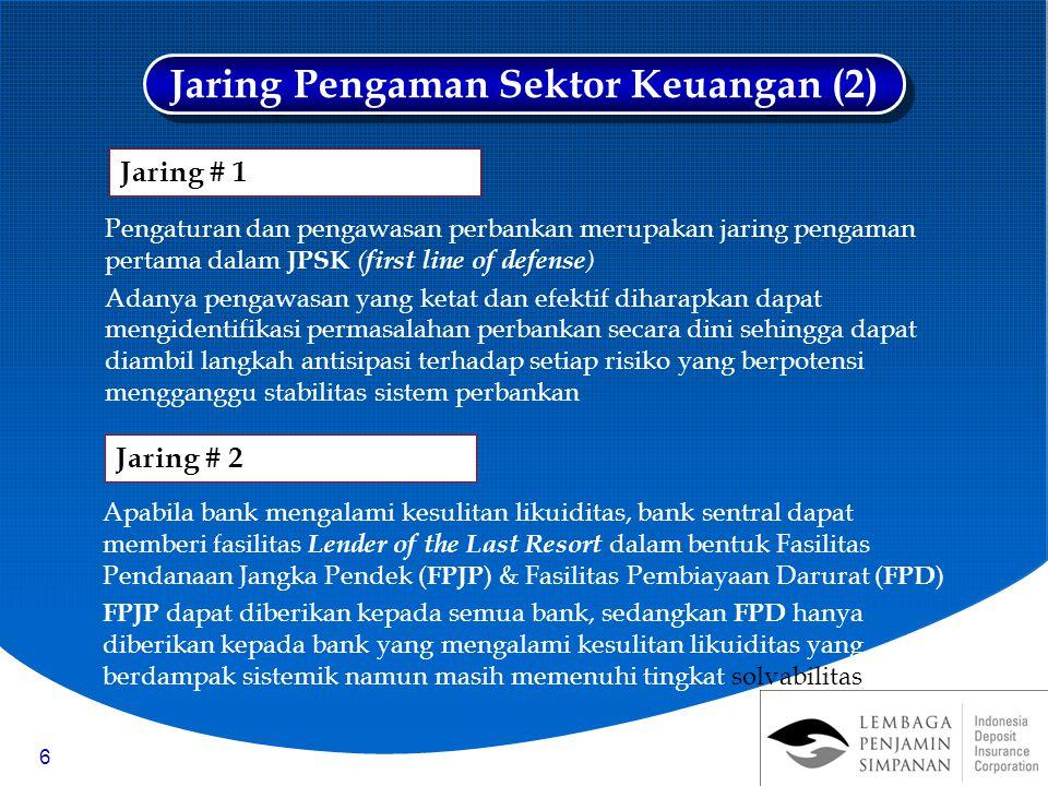 6 Pengaturan dan pengawasan perbankan merupakan jaring pengaman pertama dalam JPSK ( first line of defense ) Adanya pengawasan yang ketat dan efektif