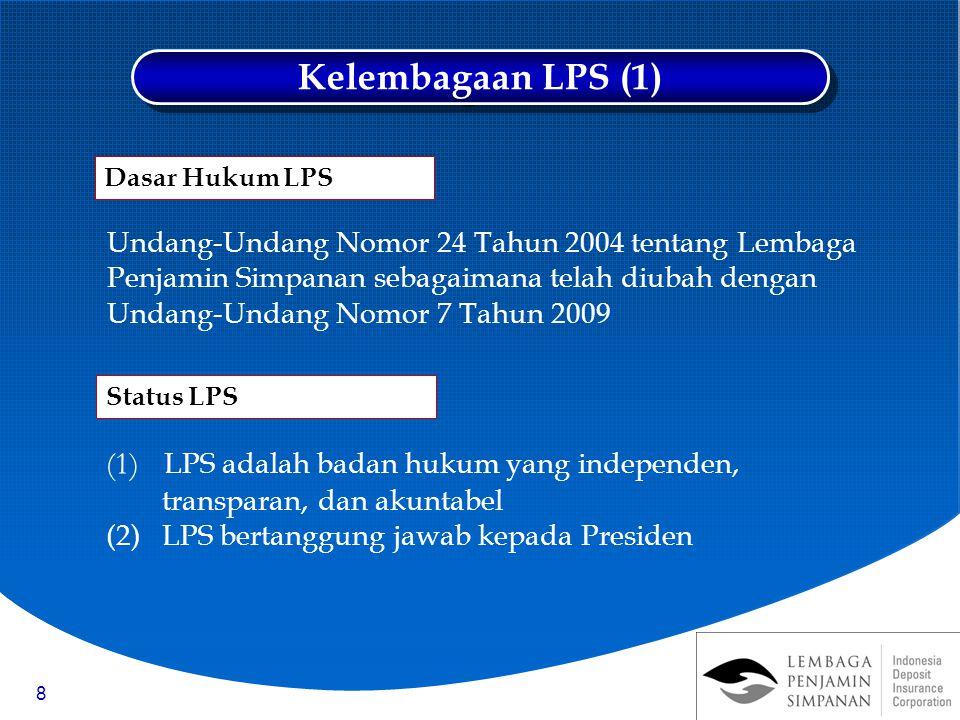 8 Undang-Undang Nomor 24 Tahun 2004 tentang Lembaga Penjamin Simpanan sebagaimana telah diubah dengan Undang-Undang Nomor 7 Tahun 2009 (1) LPS adalah badan hukum yang independen, transparan, dan akuntabel (2)LPS bertanggung jawab kepada Presiden Kelembagaan LPS (1) Status LPS Dasar Hukum LPS