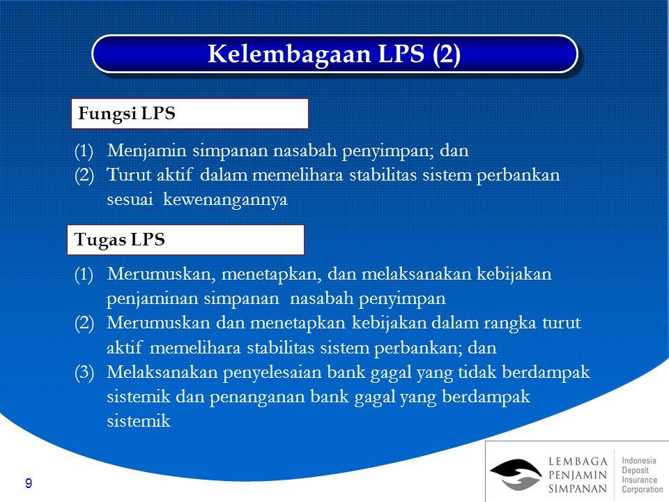 9 (1) Menjamin simpanan nasabah penyimpan; dan (2)Turut aktif dalam memelihara stabilitas sistem perbankan sesuai kewenangannya (1) Merumuskan, menetapkan, dan melaksanakan kebijakan penjaminan simpanan nasabah penyimpan (2)Merumuskan dan menetapkan kebijakan dalam rangka turut aktif memelihara stabilitas sistem perbankan; dan (3)Melaksanakan penyelesaian bank gagal yang tidak berdampak sistemik dan penanganan bank gagal yang berdampak sistemik Tugas LPS Fungsi LPS Kelembagaan LPS (2)